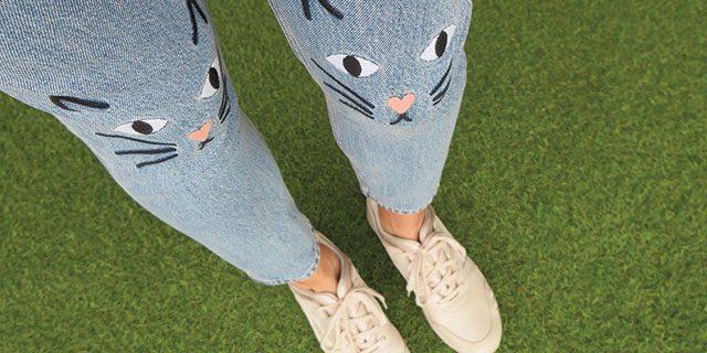 Monki kitten spijkerbroek met kat