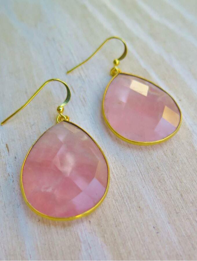 rozenkwarts oorbellen goud