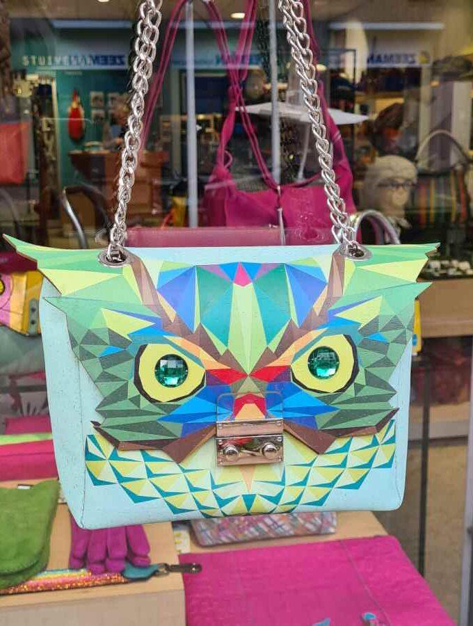 tas met uil ogen groen kurk voorkant