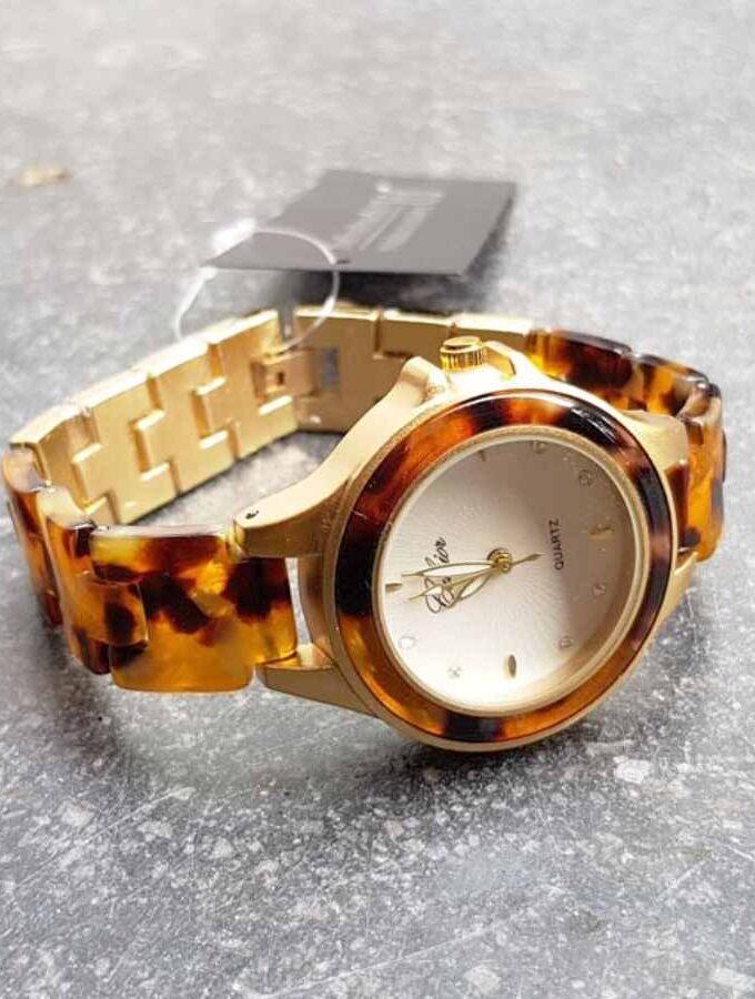 Horloge gevlamde band marmerlook in bruin