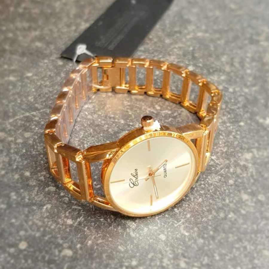 Stijlvol horloge stalen band in rosé zijkant