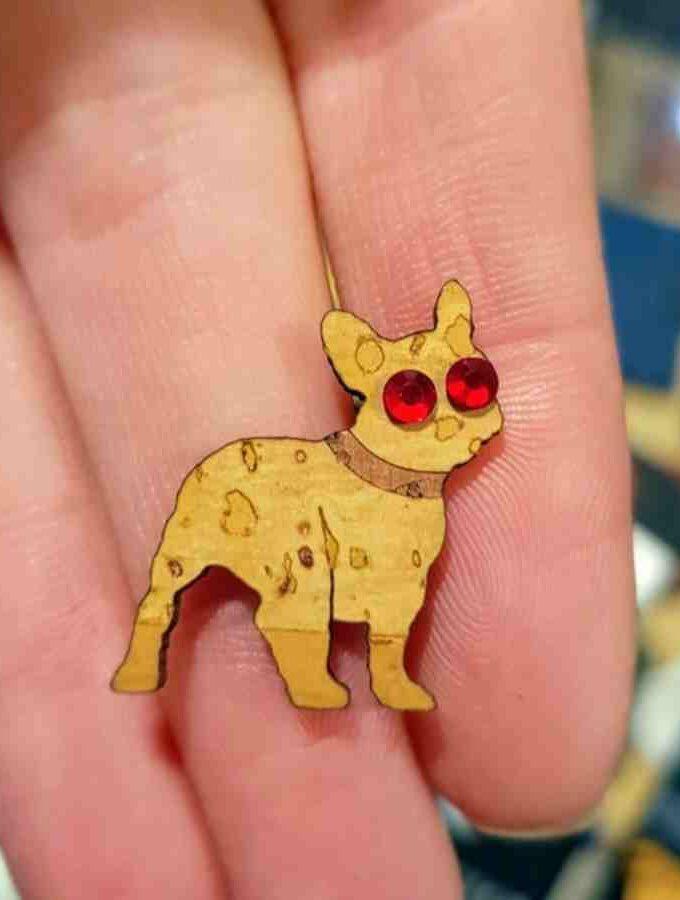 oorbel hondje kruk french bulldog