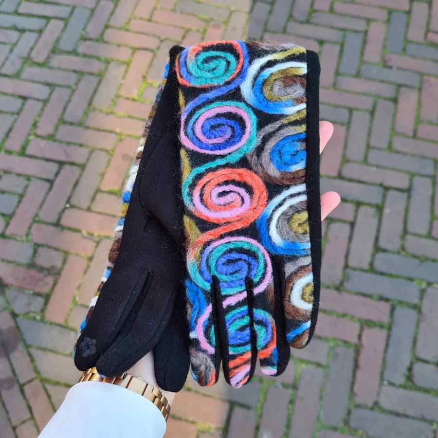 Handschoen multi dames kleurrijk