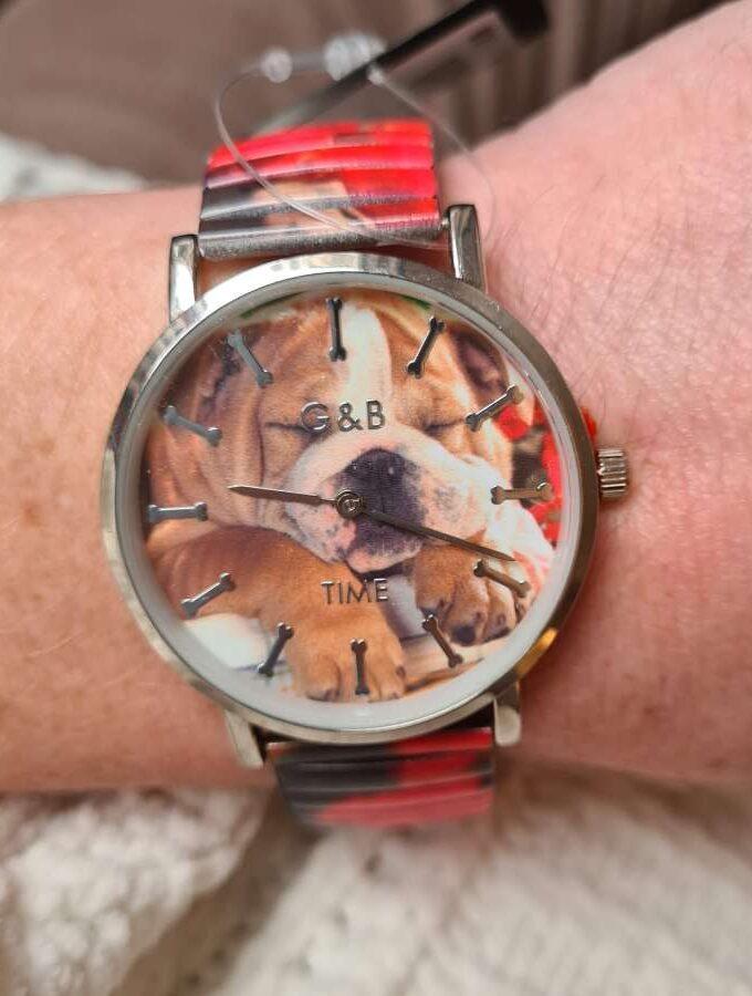 Horloge bulldog pup met botjes