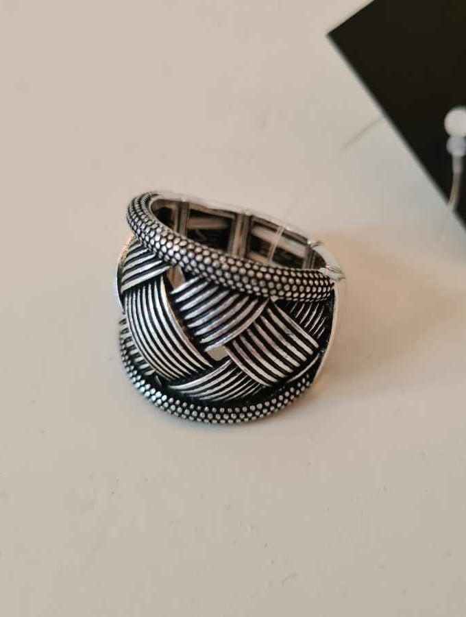Ring gevlochten elastiek grijs
