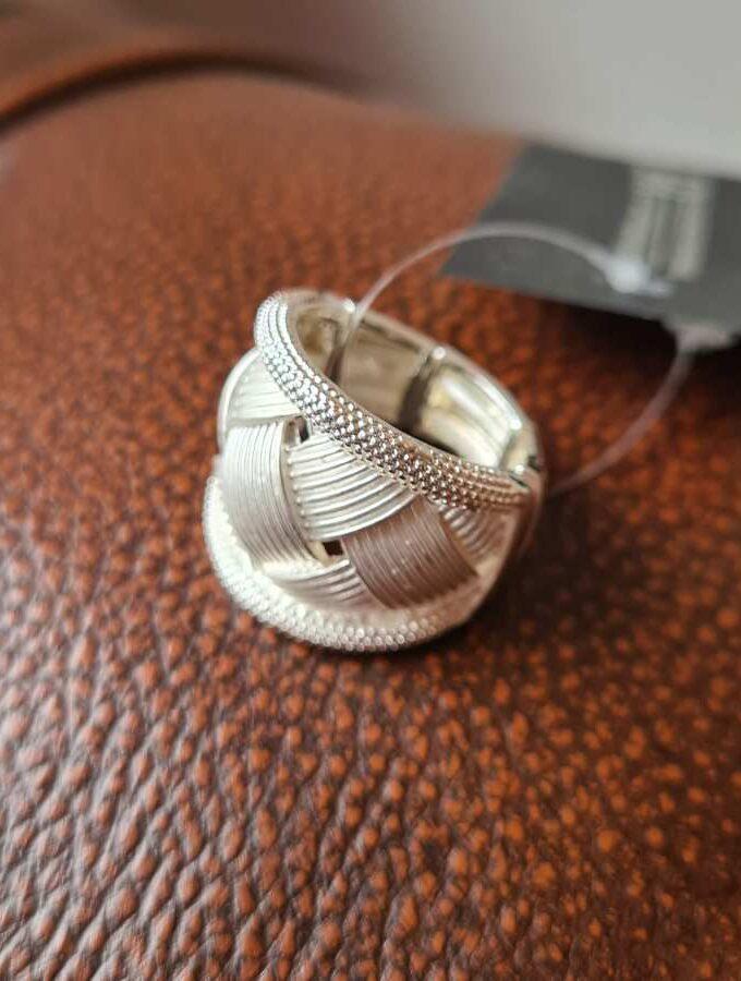 elastieken ring zilver gevlochten