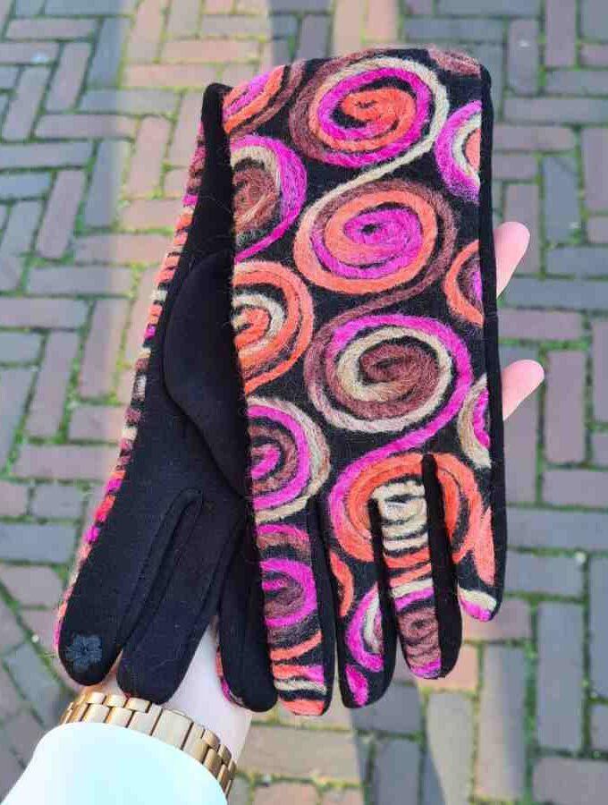 Handschoenen cirkels wol roze