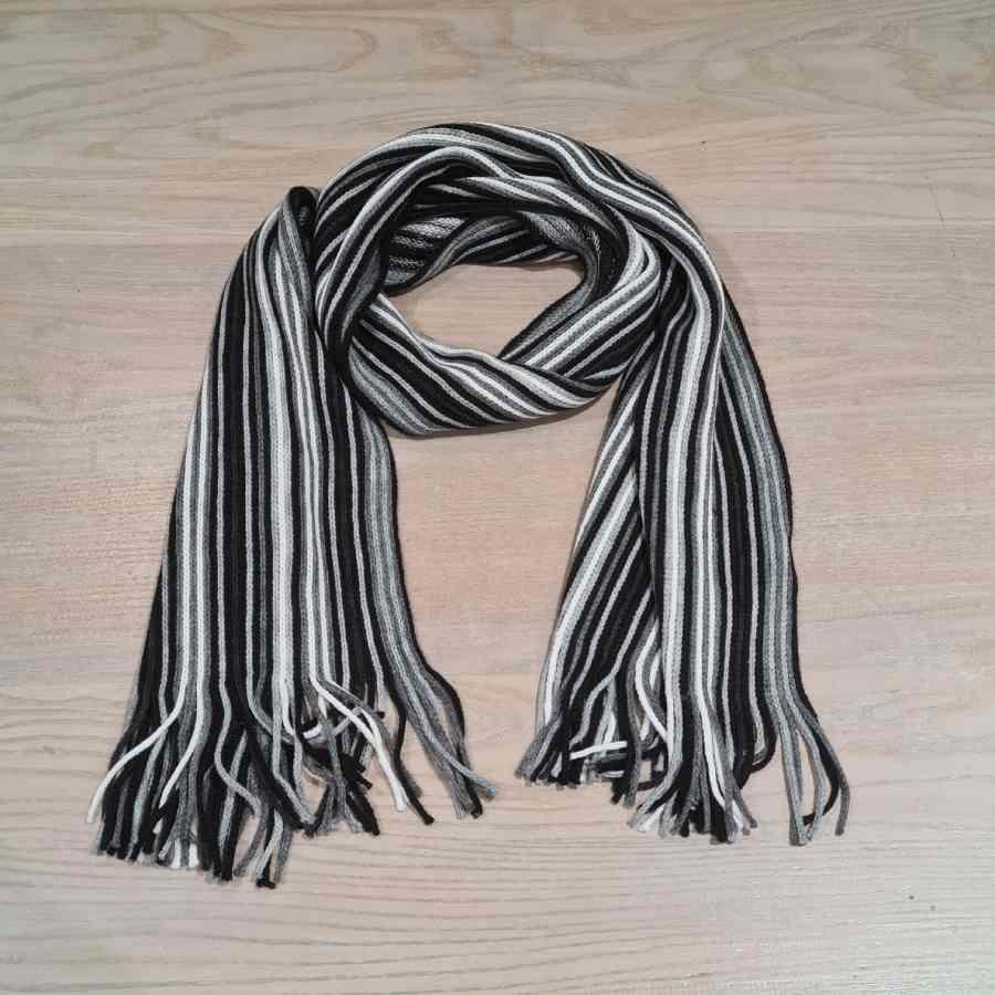 Herensjaals met strepen zwart wit