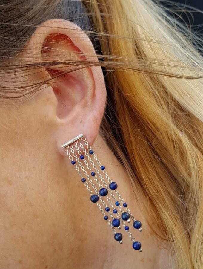 Oorbellen lapis lazuli lang