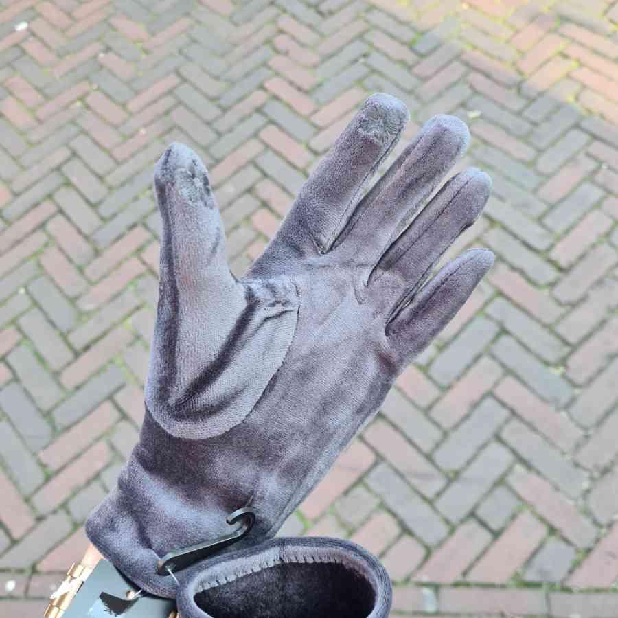 handschoenen grijs zacht satijn