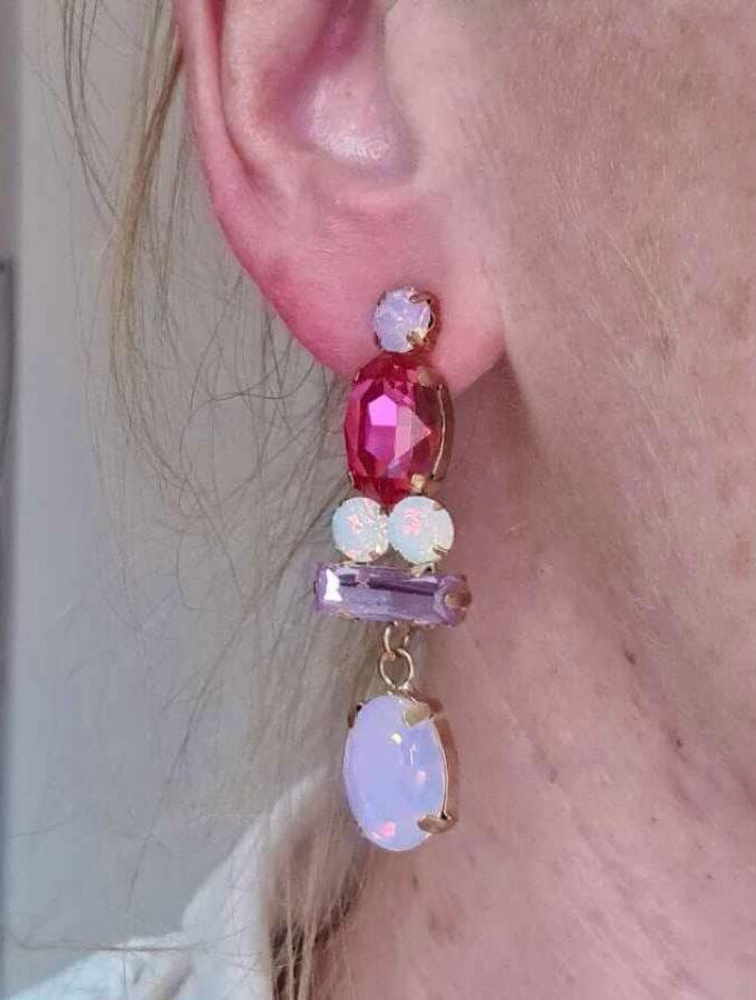 roze oorbel bling