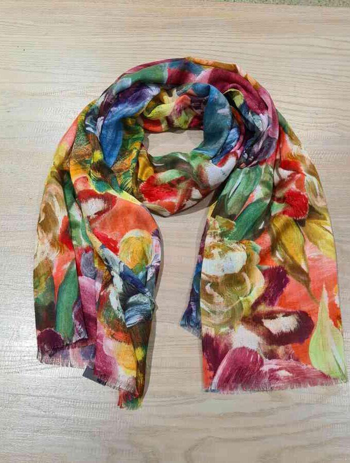 Kleurrijke sjaal katoen met bloemen