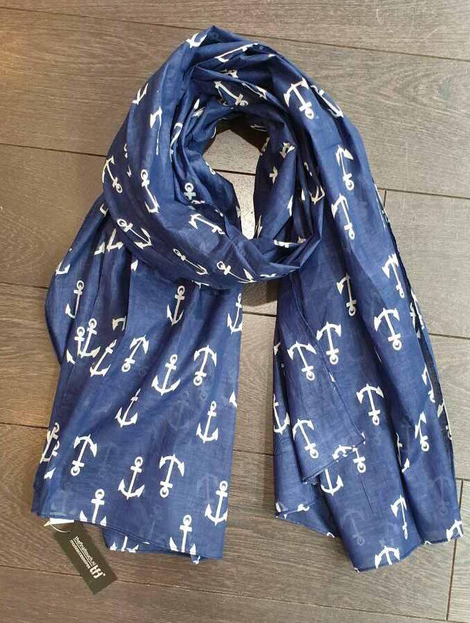 blauwe sjaal katoen met ankers