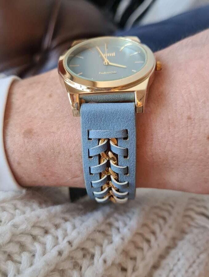 blauw horloge goud
