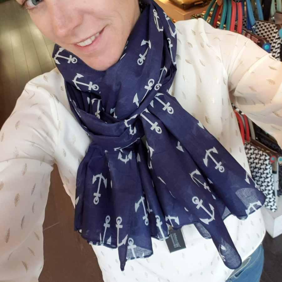 blauwe sjaal katoen met witte ankers