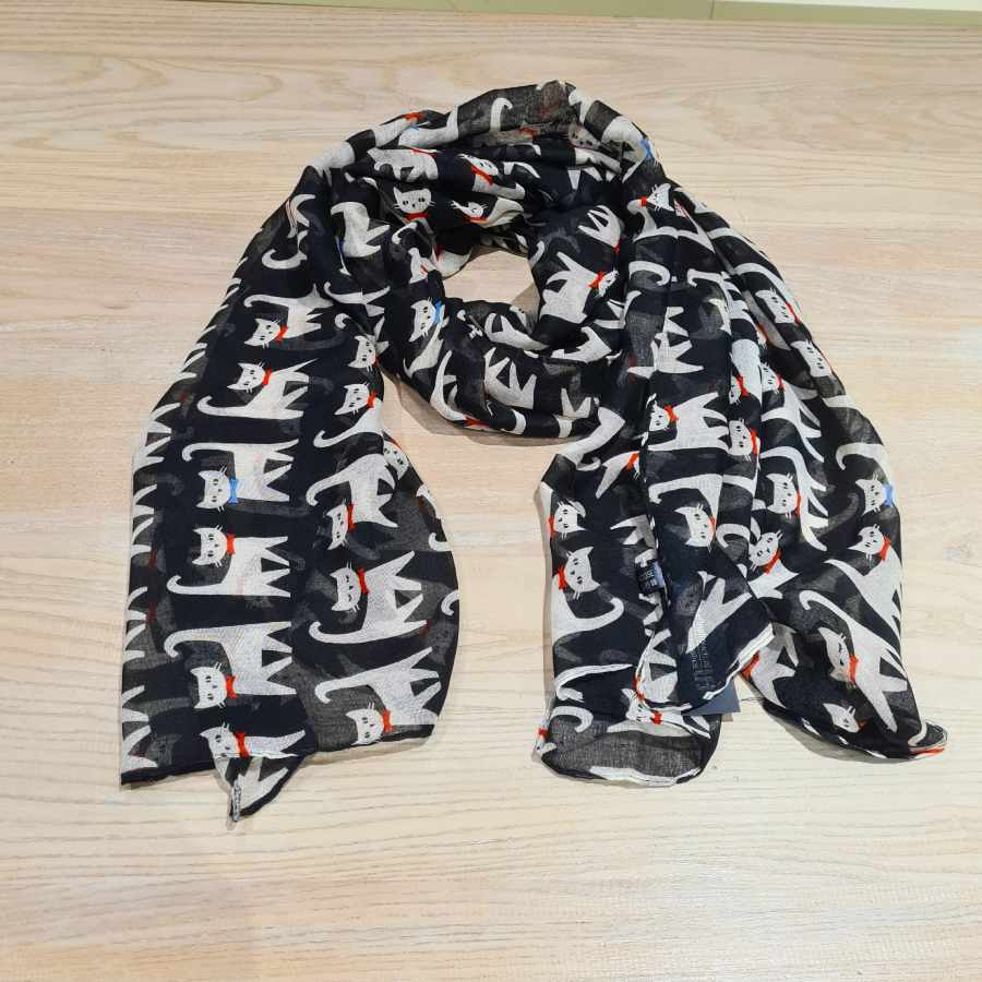 sjaal kat zwart wit