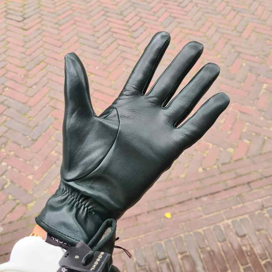 Roeckl handschoen petrol leer wol gevoerd