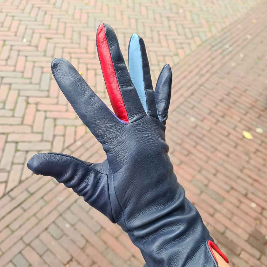 Blauwe handschoen gekleurde vingers mywalit