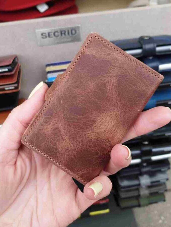 Miniwallet vintage brown achterkant