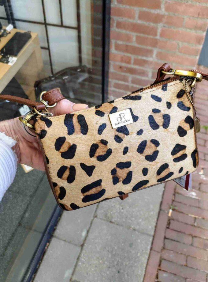 Clutch met leopard print en vacht