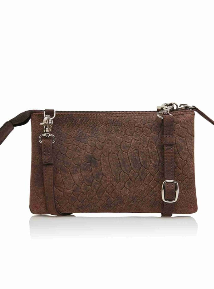 DR Amsterdam clutch snake print in bruin