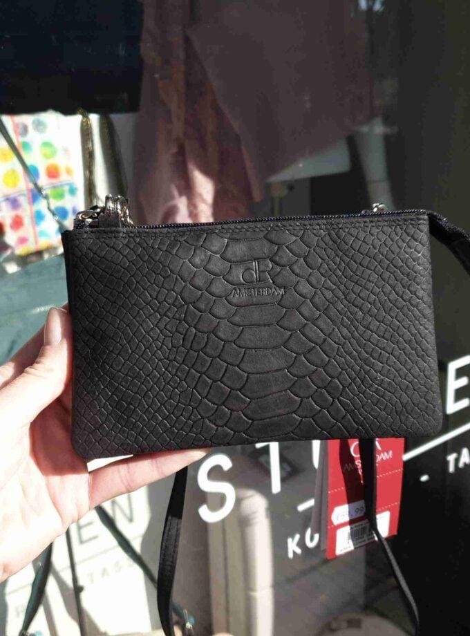 DR Amsterdam clutch snake print in zwart