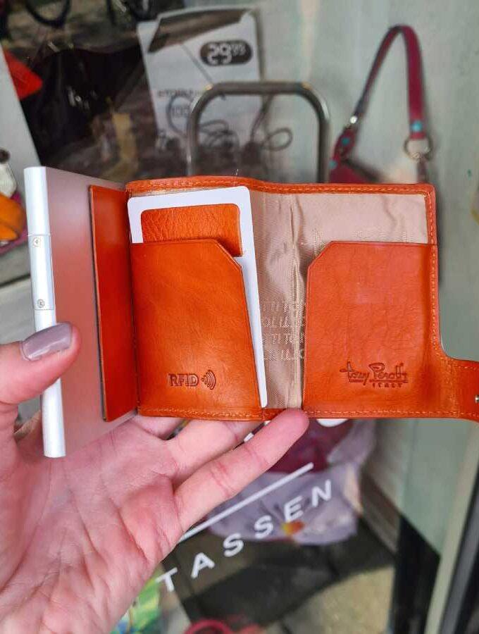 Tony Perotti Cardholder met muntgeldvak in oranje binnen