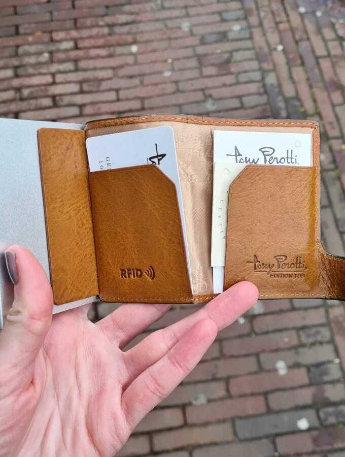 Tony Perotti kleine portemonnee groen cognac