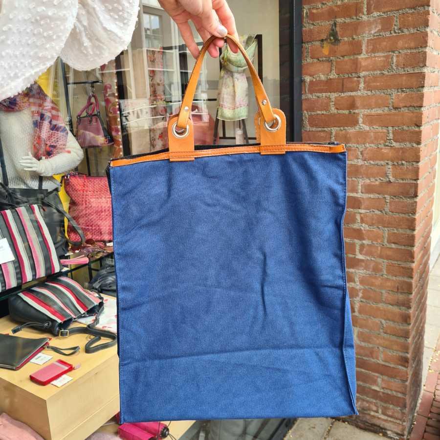Canvas boodschappentas leren handvatten in blauw