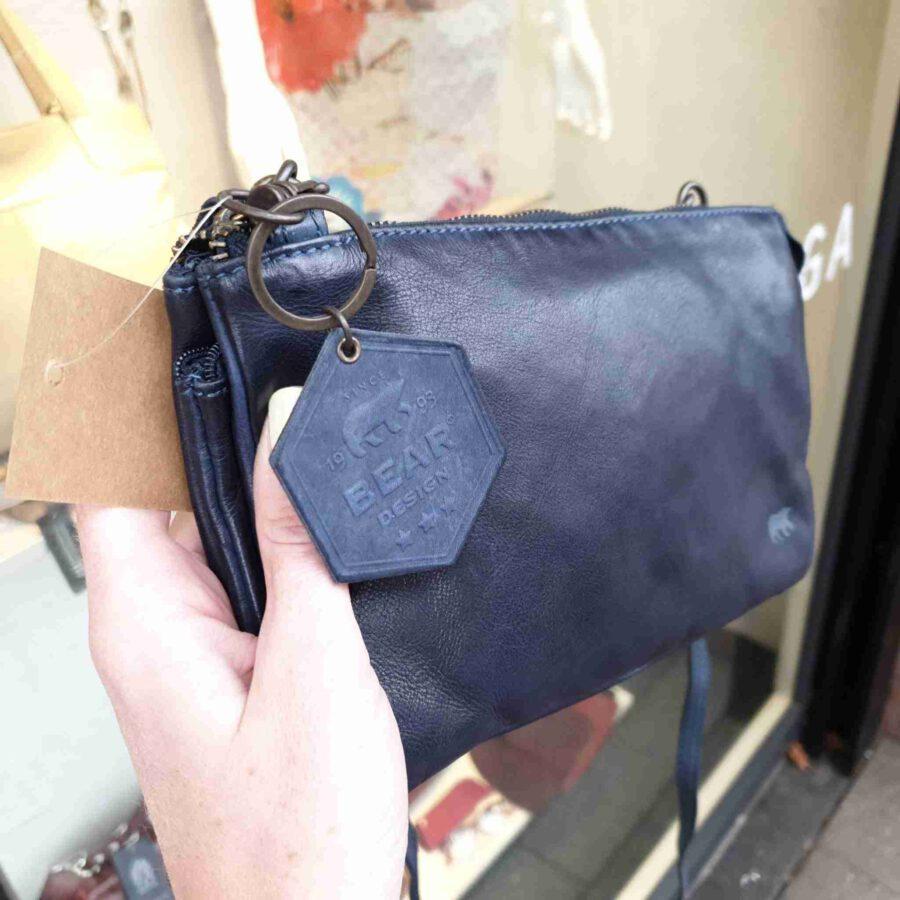 Bear Design kleine clutch met vakjes in blauw