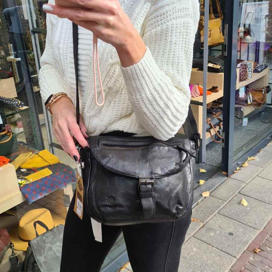 Bear Design schoudertas met klep in zwart