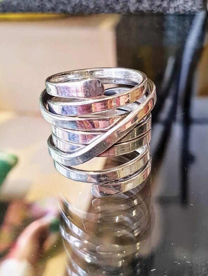 Grove zilveren ring verstelbaar
