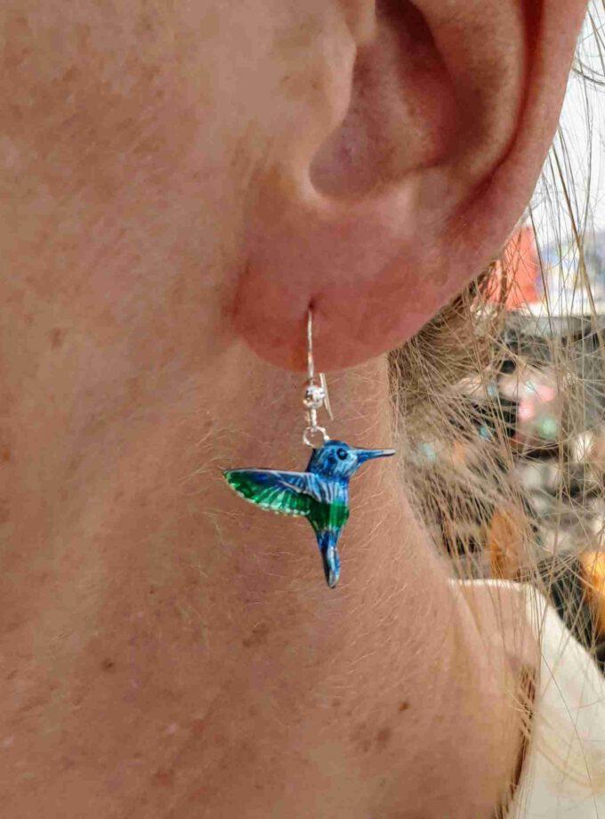 Zilveren oorbel kolibri