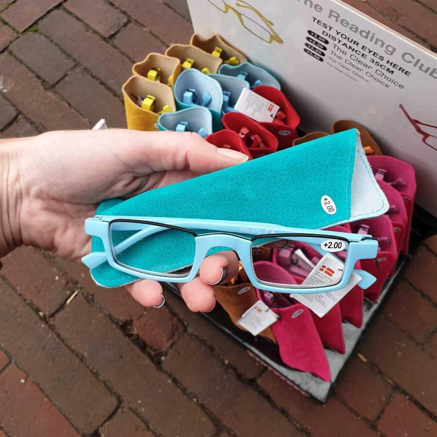 leesbril half montuur turquoise