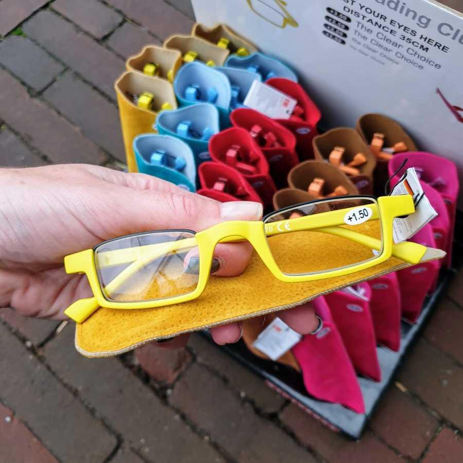 leesbril half montuur geel