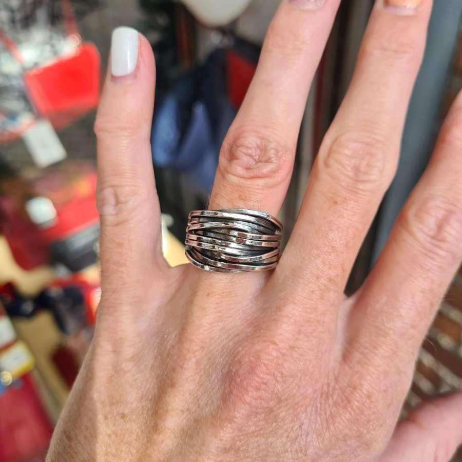 grove ring brede strepen echt zilver