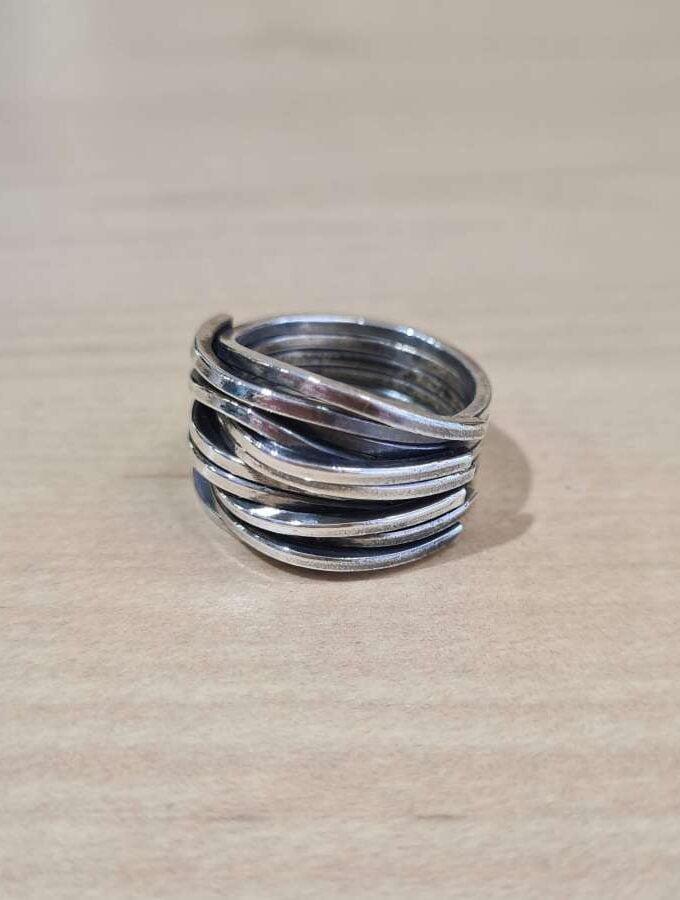 ring zilver stroken grof
