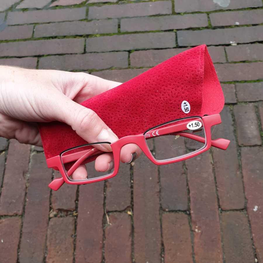 leesbril half montuur rood