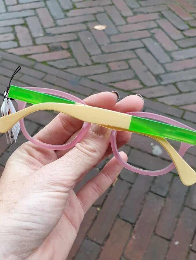Leesbril neon hoesje en mat montuur roze