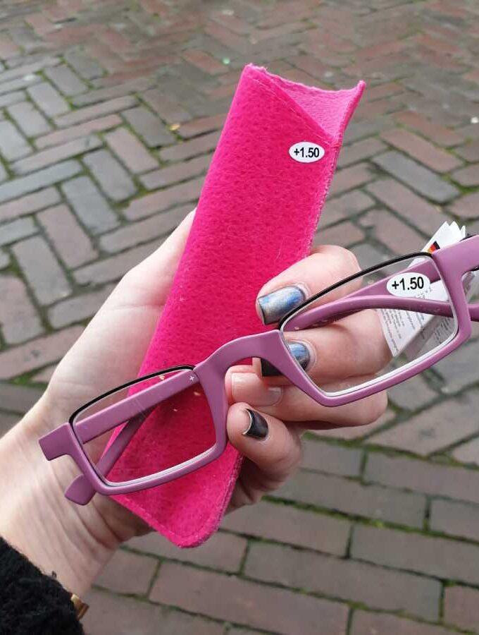 leesbril half montuur roze