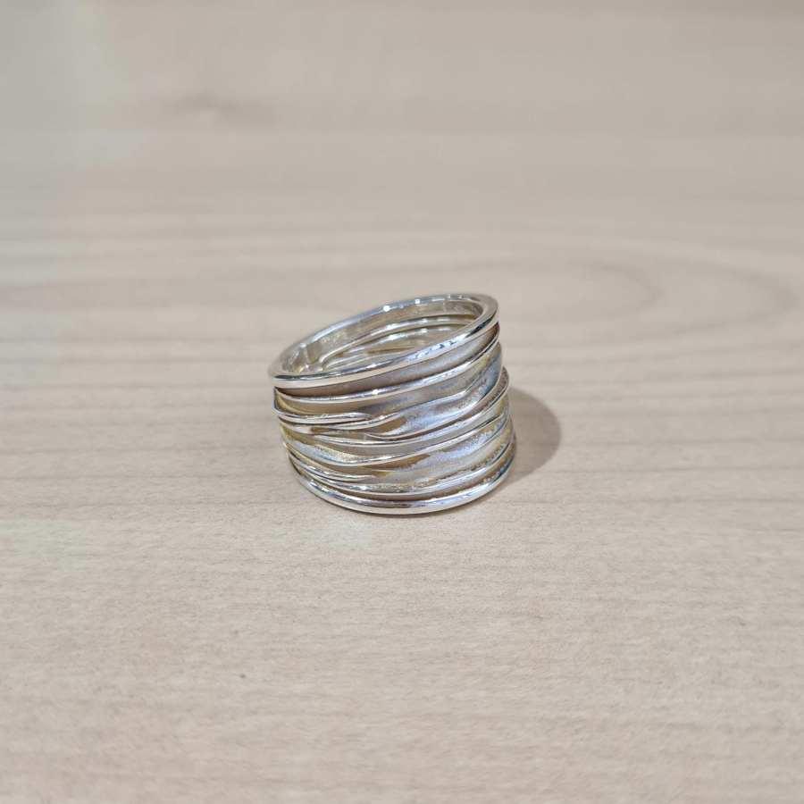 ring echt zilver strepen
