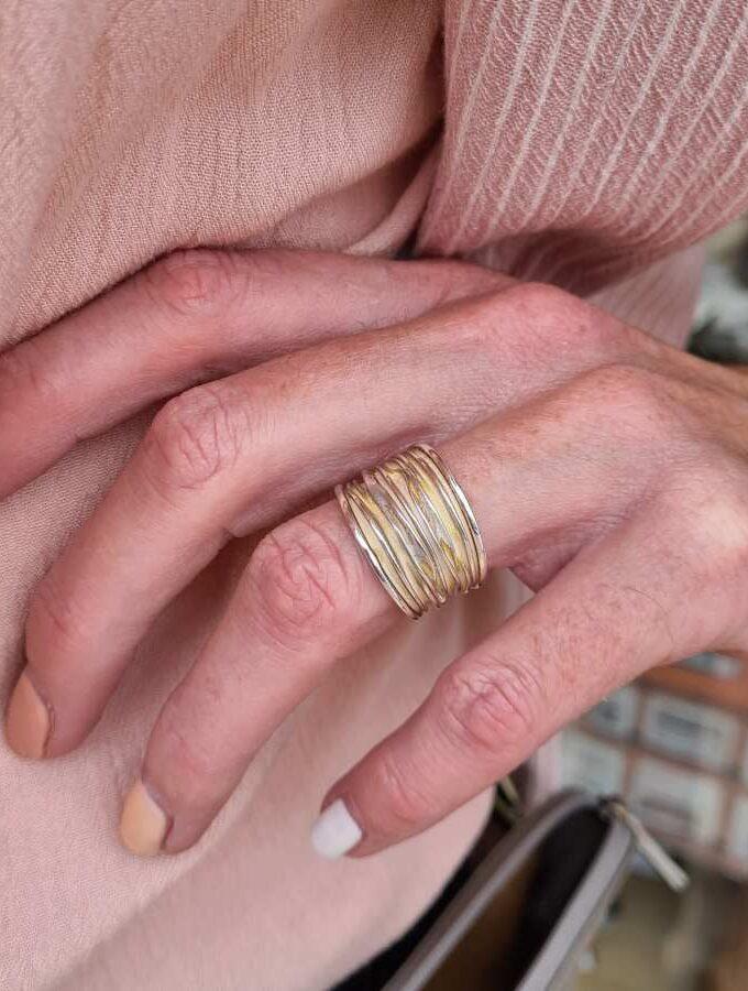 ring echt zilver stroken