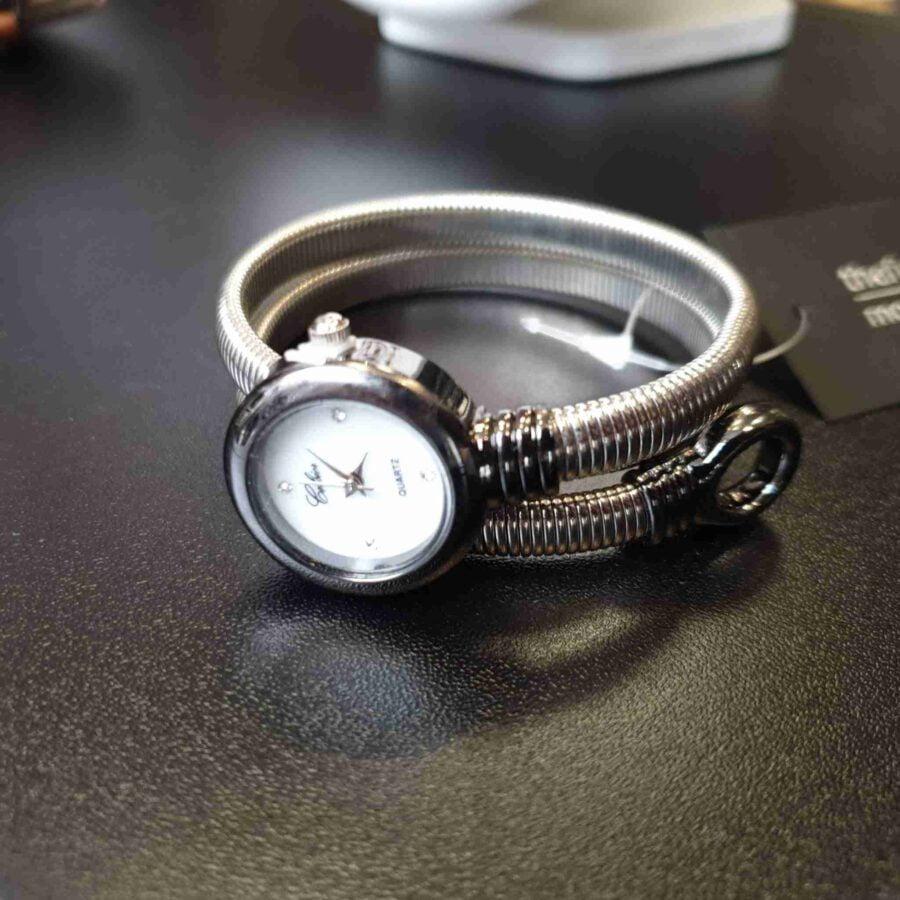 Horloge met stalen band donkergrijze klok