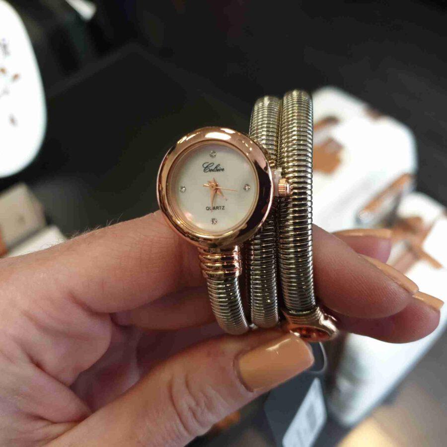 Horloge met stalen band rosé kleurige klok