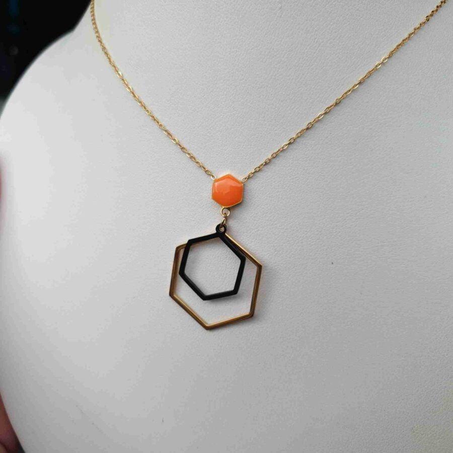 Ketting zeshoeken stainless steel oranje
