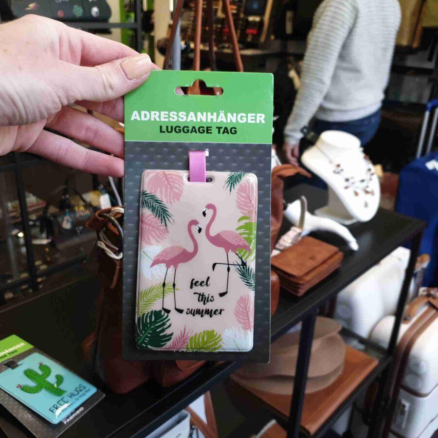 Kofferlabel flamingo roze adreslabel