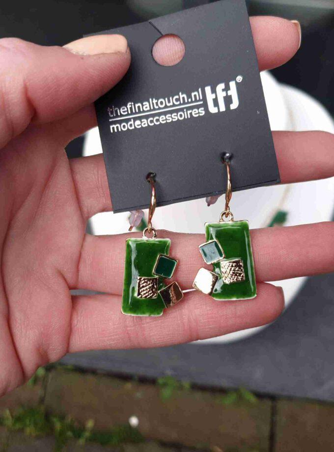 oorbellen emaille rechthoeken groene blokken