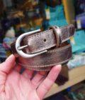 Leren riem 25mm zilveren gesp in brons