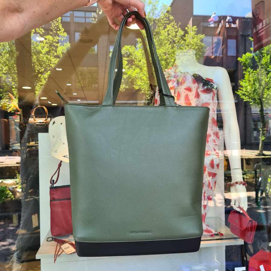 Moleskine Classic Leather Tote Bag Shopper Moss Green