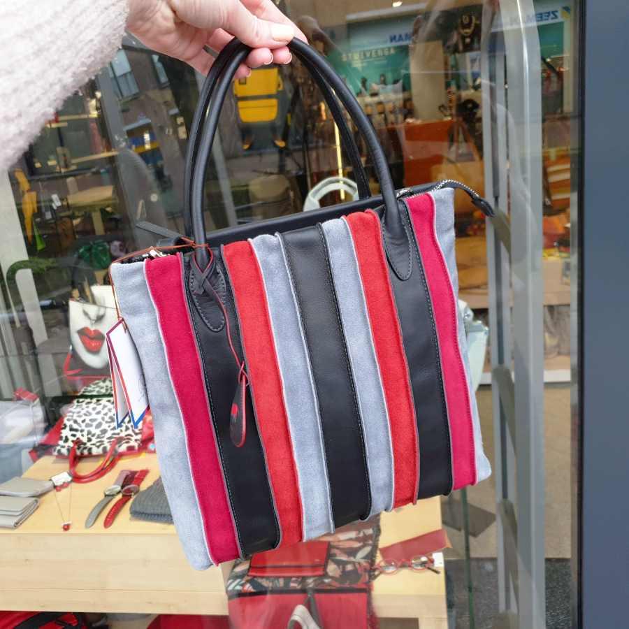 MyWalit Laguna Medium Shopper Black-Pink 628 Stripes